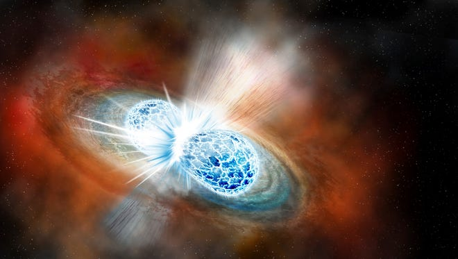 This illustration provided by the Carnegie Institution for Science depicts the collision of two neutron stars detected on Aug. 17, 2017