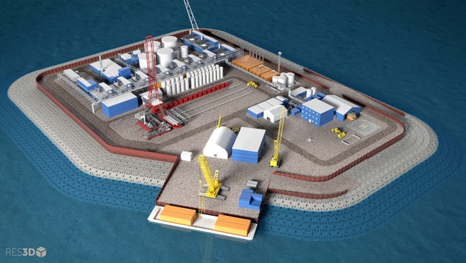 This undated illustration provided by Hilcorp Alaska Inc. shows a model of an artificial gravel island of the Liberty Project, a proposal to drill in Arctic waters from the artificial island. Alaska Natural Resources Commissioner Andy Mack says oil production on gravel islands in state waters show that the Liberty Project can be done safely. Opponents say spills are inevitable and Arctic offshore oil should stay in the ground. (Hilcorp Alaska Inc. via AP)