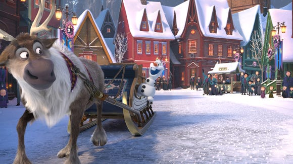 Olaf (voiced by Josh Gad, center) teams up with Sven