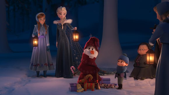 It's Christmas in Arendelle for Anna (far left, voiced