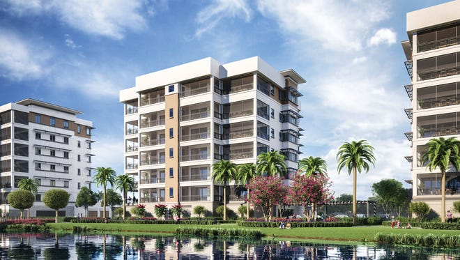 Moorings Park Grande Lake features luxurious mid-rise residences, including penthouses, with prices starting at $1.4 million.