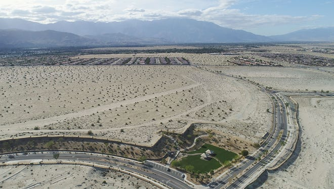 This vacant land in between Cook St. and Portola Ave in Palm Desert has been purchased by BlackRock and may developed into housing, February 13, 2018.