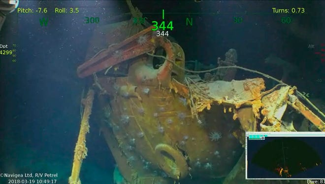 In this Monday, March 19, 2018, underwater video image courtesy of Paul Allen shows wreckage from the USS Juneau, a U.S. Navy ship sunk by the Japanese torpedoes 76 years ago, found in the South Pacific. Philanthropist and Microsoft co-founder Allen has announced that wreckage of the sunken ship on which five brothers died in World War II has been discovered in the South Pacific. A spokeswoman for Allen confirms wreckage from the USS Juneau was found Saturday, March 17, off the coast of the Solomon Islands.