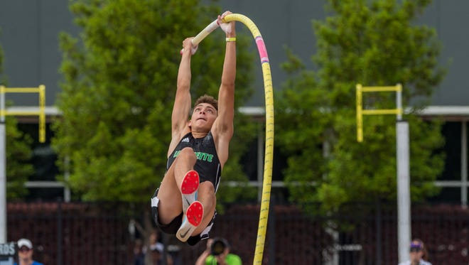 Mondo Duplantis, shown here at the 2018 LHSAA state track meet, secured his first national title with LSU this weekend at the NCAA Indoor Championships.