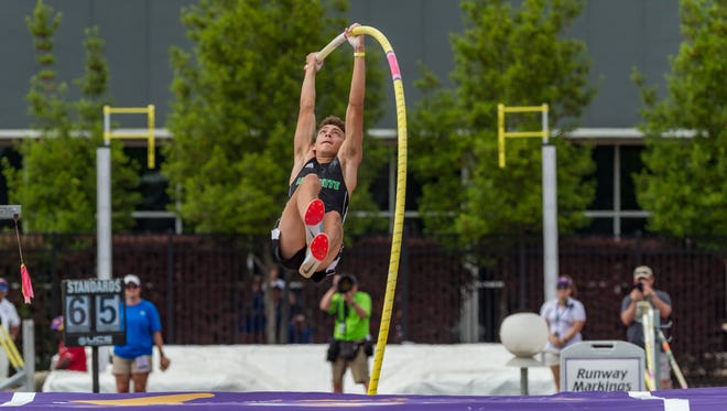 LSU pole vaulter and former Lafayette High star Mondo Duplantis, shown here at the 2018 LHSAA State Track meet at LSU's Bernie Moore Track Stadium, continued his record-breaking career Saturday at the LSU Invitationals. Among his achievements this weekend was breaking the facility record that he set during this 2018 state meet.