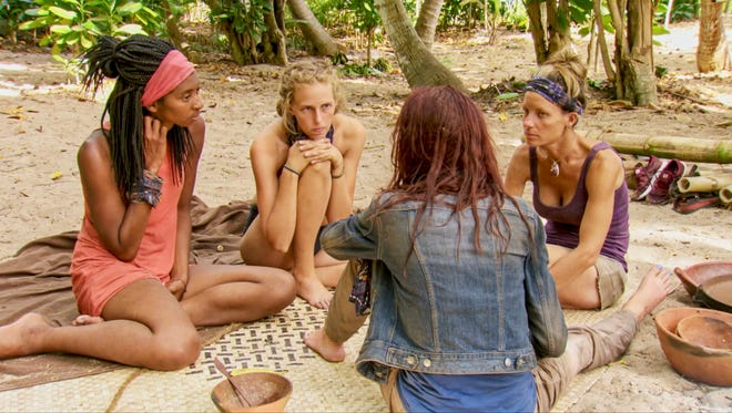 Laurel Johnson, Kellyn Bechtold, Chelsea Townsend and Angela Perkins on the twelfth episode of Survivor: Ghost Island, airing Wednesday, May 9.