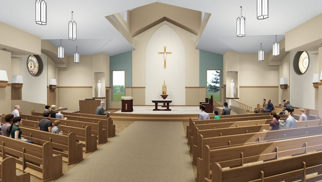 A rendering of the new sanctuary for Holy Trinity Parish in Oconto.