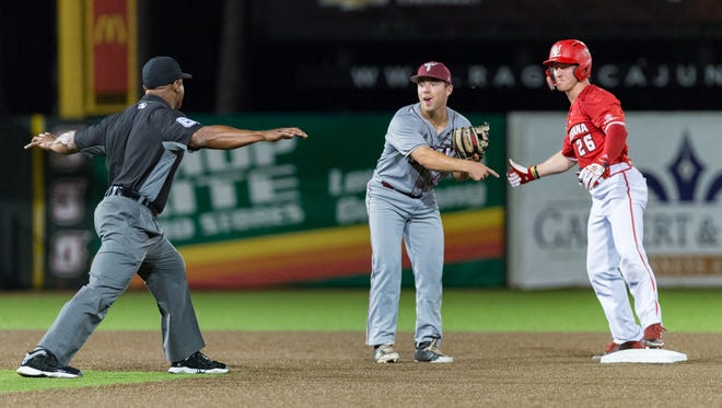UL's Daniel Lahare is ruled safe at second during the Cajuns' 10-1 Sun Belt tourney loss to Troy late Thursday night/early Friday morning.