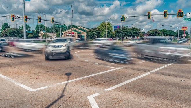 The intersection of Ambassador Caffery Parkway and Kaliste Saloom Road in Lafayette, Louisiana on Aug. 6, 2018.
