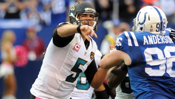 Jacksonville Jaguars quarterback Blake Bortles drops