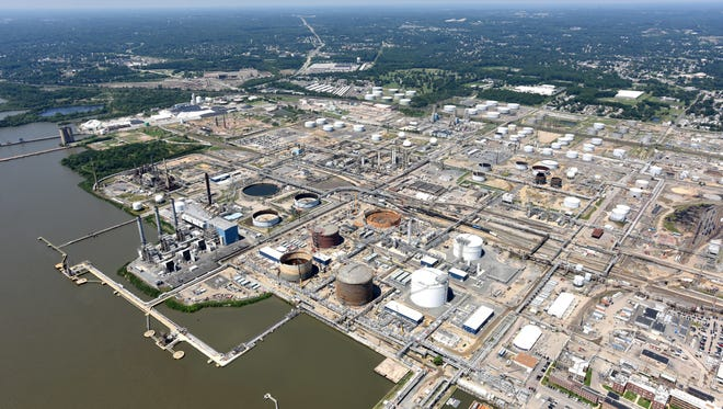 The factories of Marcus Hook, Pa., just north of the Delaware border are shown on Aug. 3. Delaware environmental officials say the state gets 90 percent of its air pollutants from other states.