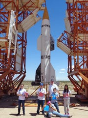 Rocketeer Academy cadets, with Education Director Dave Dooling, visit the restored V-2 launch pad at White Sands Missile Range. This is the same launch pad that was used by Dr. Richard Tousey in 1946 to launch the first ultraviolet spectrograph aboard a V-2 rocket.