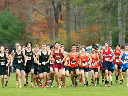 Runners set off during the Section 4 Class A cross