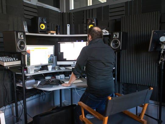 Mauro Giuffrida works in the sound studio in The Kitchen's