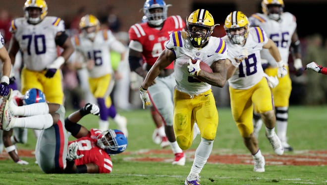 LSU running back Derrius Guice helped the Tigers control the game with its rushing attack, which featured 276 yards from Guice.