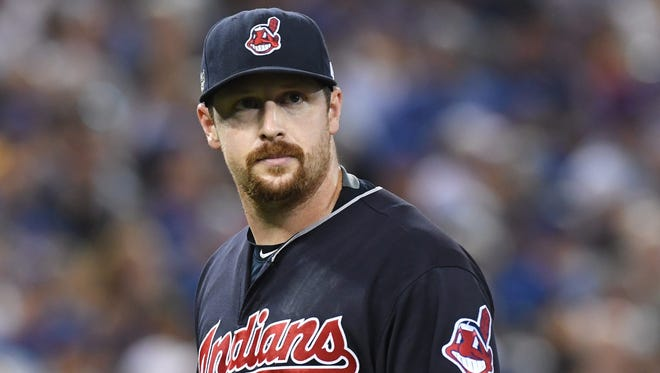 Cleveland Indians relief pitcher Bryan Shaw leaves the game after giving up a two-run single to the Toronto Blue Jays during seventh inning of Game 4 of the baseball American League Championship Series, Tuesday, Oct. 18, 2016, in Toronto. (Frank Gunn/The Canadian Press via AP)