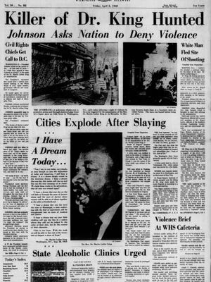 The front page of the Friday, April 5, 1968 Evening Journal.