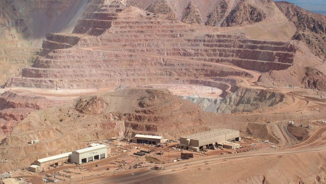 Portions of the Freeport-McMoRan open pit in Morenci, the largest copper mine in Arizona, are visible from overlooks on U.S. 191.