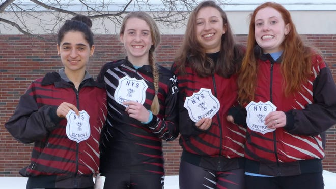 The Section 9 girls Nordic skiing champions from New Paltz High School.