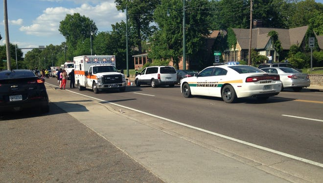A man was taken to the hospital by ambulance with unknown injuries after he was hit by a van near the intersection of North Highland Avenue and Wilkinson Street this afternoon, Jackson police said.