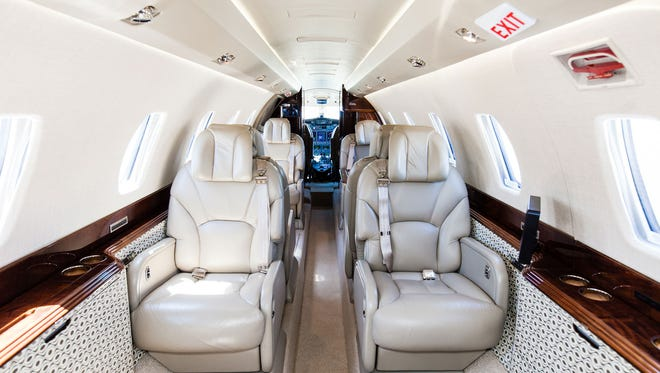The interior of a Citation X private jet that flies in the fleet of Delta Private Jets.