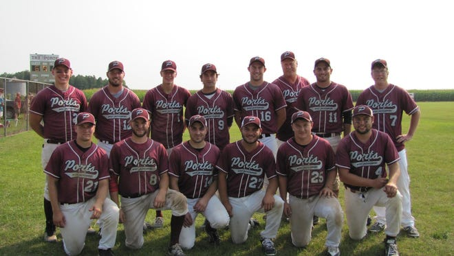 The 2015 Jacksonport Ports. Front Row:  Zack Defere, Griffin Cole, Mike Stoneman, Tony Bley, Willie Franke, Cody Leist,  Back Row: Jason Lindemann, Tanner Biwer, Drew Tanck, Andy (Woody) Schartner, Austin Bauldry,  Mark Franke, Eric Bley, and Matt Gauger. Not pictured: Alec Schartner, Nick Johnson, and Jared Lindemann.