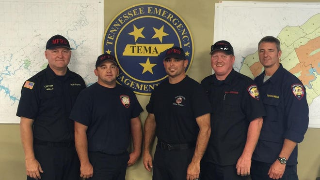 MFRD Special Ops Personnel (L to R): Captain/Shift Inspector Clay Walls, Firefighter Mark Brewer, Firefighter Jeremy Spivey, Driver Jeremy McCullough, and Captain Gary Hutchinson.
