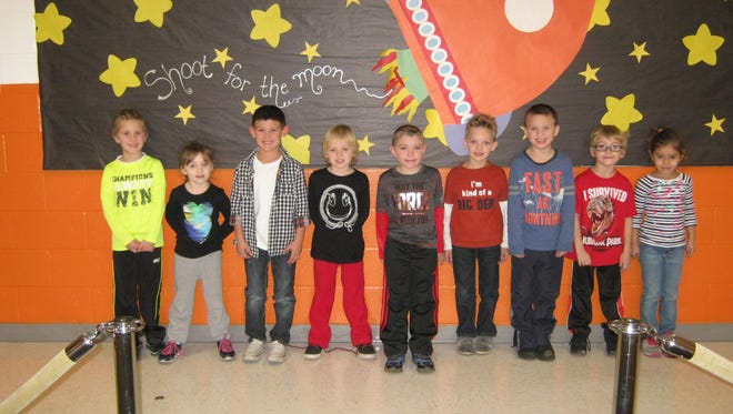 Kindergartners named Students of the Month for November at Janvier School in Franklin are (from left) Liam Davidson, Skyler Conner, Nico Gebhard, Ryder DiRaddo, Brandon Shiplee, Ethan Austin, Ian Mensch, Michael Bradford and Mariah Cabrera.