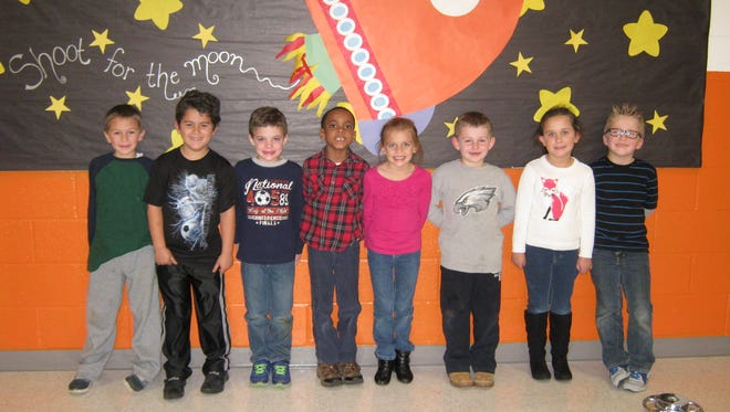 First graders named Students of the Month for November at Janvier School in Franklin are (from left) Shane Lettieri, Jayden Reyes Brescia, David Dempsey, Jonathan Simmons, Reagan Nichols, Gabriel Molinari, Morgan Yorio and Colin Satterfield.