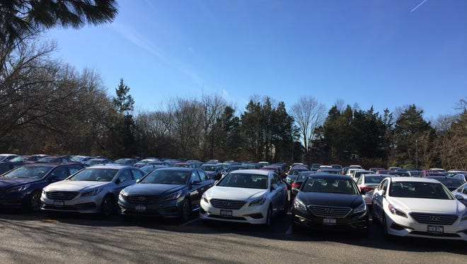 New cars from Lester Glenn Auto Group parked at The Presbyterian Church of Toms River's parking lot on Wednesday.