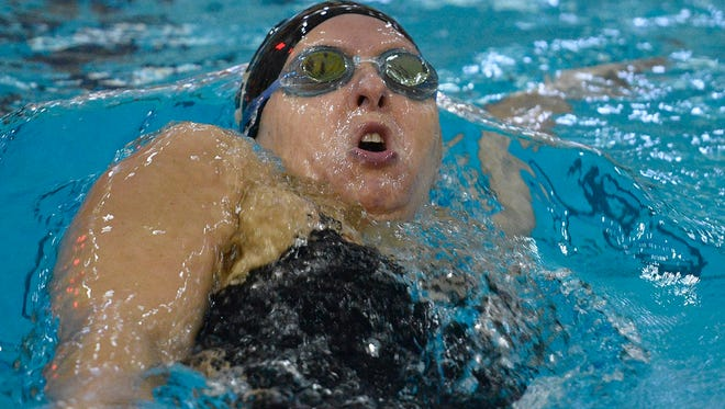Kelly Hamilton, of Chambersburg, swims the backstroke in a meet for the U.S. Army.