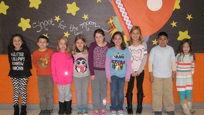 Second-graders named Students of the Month for December at Janvier School in Franklin are (from left): Emma Serrano, Austin Towlen, Chelsea Beaver, Jameson Forczek, Kaylee Gelsinger, Mikayla Popolo, Juliana Baez, Felicitos Castro-Paredez and Bianca Berlin.