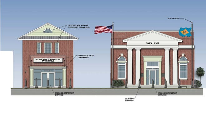 A rendering of the proposed improvements to 37 and 39 The Circle, which serve as Georgetown's town hall and annex office building respectively.