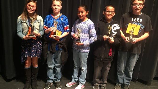 The Cobre District English Spelling Bee Champion was Kaylee Herrera, from left, second place was Cole Fink, third place was Madison Ortiz, fourth place was Max Murillo, and fifth place went to Alex Ortiz.