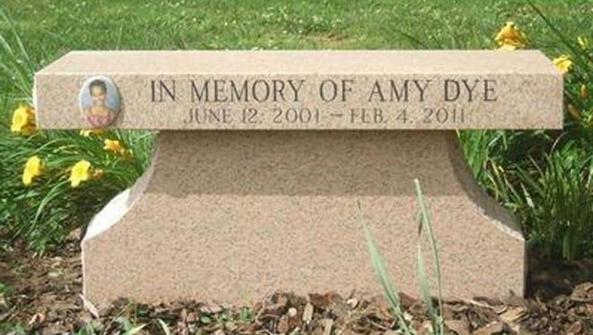 A memorial to Amy Dye at her Todd County elementary school.