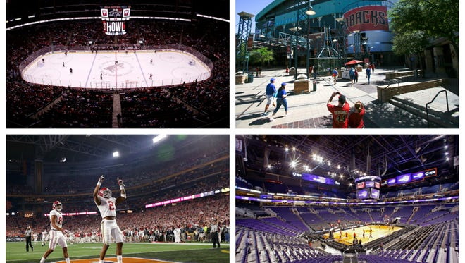 Clockwise from top left: Gila River Arena, Chase Field, Talking Stick Resort Arena and University of Phoenix Stadium.