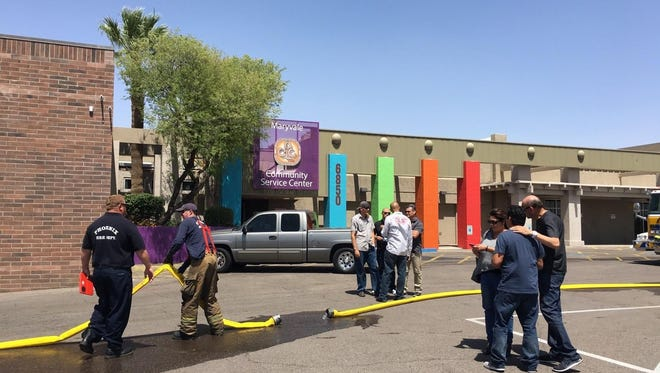 Crews from Phoenix and Glendale  fought a first-alarm fire at a community center near 67th Avenue and Indian School Road on April 15, 2016.