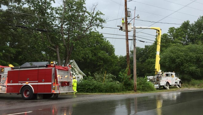 Dickson Electric System fixes a downed power line.