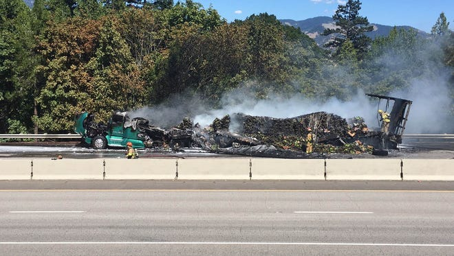 A semi hauling bananas caught fire due to overheated brakes.