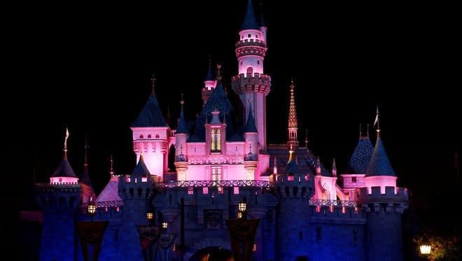 Night shot of Disney's Sleeping Beauty Castle in Fantasyland  Anaheim, CA, USA - September 30th, 2013.  Exterior image of entrance to Sleeping Beauty Castle in Disneyland as seen at night.