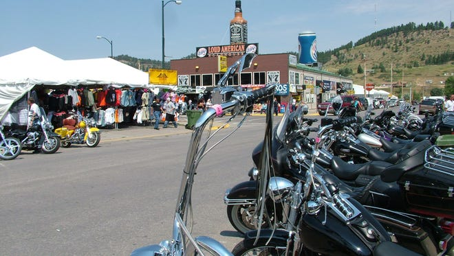 Bikes and crowds dominate downtown Sturgis in this file photo.