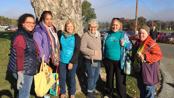 Here are six of us as we prepare to take Rhinebeck by storm in 2016: Liz, who's driving again this year; Yvonne, who isn't coming; Karen, who is coming; Pam Grannik, who died; me and Judy, who is coming.