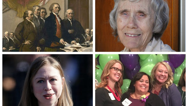 Who deserves affirmation? (Clockwise from top left) The Founding Fathers, Martha Ortiz, Michelle Doherty and, yes, even Chelsea Clinton.