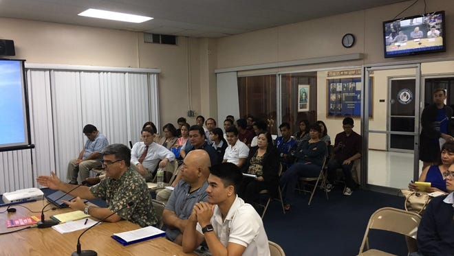 Father Duenas Memorial School senior Marco Jacob testifies at the Guam Legislature in support of Bill 317-33 on Sept. 29.