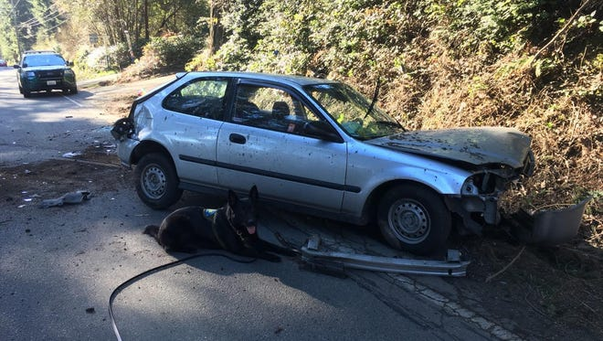 This is the car a Bremerton man is suspected of stealing and crashing Tuesday on Brownsville Highway.