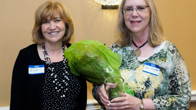 Zufall Health recognized more than 100 volunteers at a recent event at the Bridgewater Marriott, where President and Chief Executive Officer Eva Turbiner (left) paid tribute to 2017 Volunteer Honoree Dr. Lynne Carmickle. The neurologist has been affiliated with Zufall for five years.