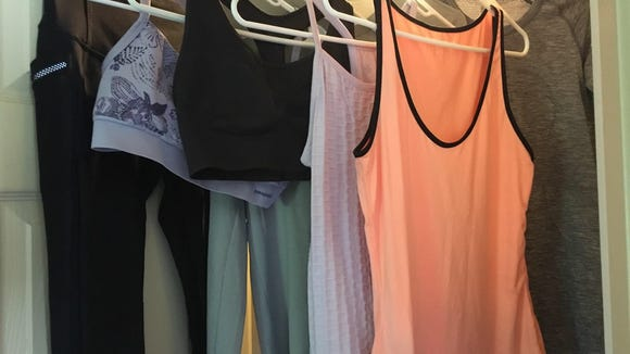 """Blogger Cori Strathmeyer packed onepair of leggings, twosports bras, twotank tops and twolong-sleeved shirts for her """"anti-stink"""" experiment."""