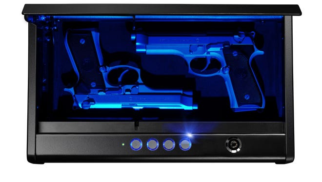 The LED version of the dual-pistol XL Quick Access Pistol Safe is one of two models that Oak Creek-based SentrySafe launched Tuesday to expand the capacity of its quick-access pistol safes.
