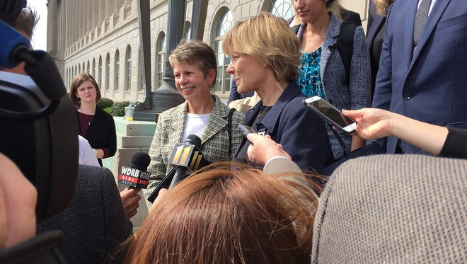 Kim Greene, chairman of Planned Parenthood of Indiana and Kentucky and Karen Johnson-McKewan, a lawyer for the organization spoke outside the federal courthouse Friday following a trial to challenge to how the state licenses abortion clinics.