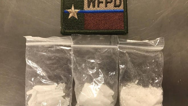 A Wichita Falls Police officer discovered these baggies of what was later determined to be methamphetamine during a traffic stop Wednesday afternoon. JoAnna Louise Noah, 31, is charged with manufacture or delivery of a controlled substance penalty group one greater than 4 grams less than 200 grams in a drug-free zone